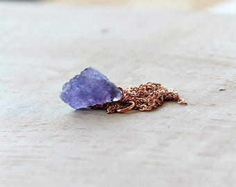 Raw Tanzanite Rose Gold Necklace, Raw December Birthstone, Rough Tanzanite Gift, Layering Necklace, Raw Crystal Necklace, Raw Crystal Gifts