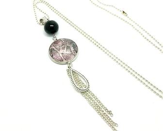 Cabochon 25mm snake pattern necklace - handmade by LesBijouxdeKarine