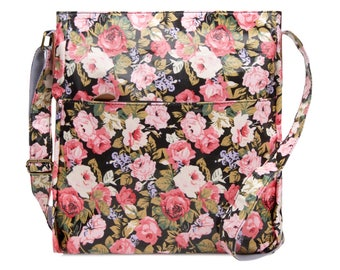 Crossbody College laptop Bag - Floral - Oilcloth computer school bag - Work messenger bag - Ladies purse- University bag- Laminated cotton