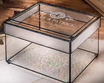 Wedding Card Box Personalized Holder Engraved Glass Keepsake Reception Decor