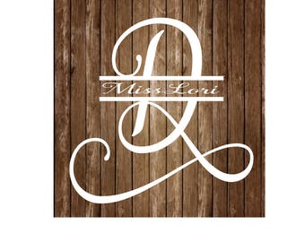 D split letter Samantha 2 font elegant monogram  dfx SVG  decal  signs vinyl, decal wood sign, t shirt, wedding