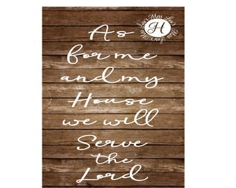 As for me and my house we will praise the Lord Thanksgiving Joshua 24:15   banner wood decal sign  Fall SVG DFX Cut file  Cricut explore