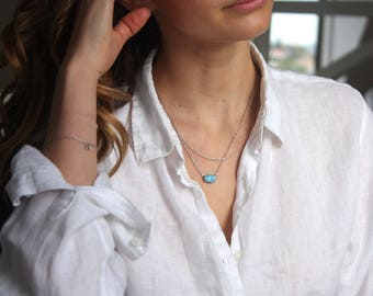 Uni Necklace // Australian Boulder Opal Necklace // Sterling Silver