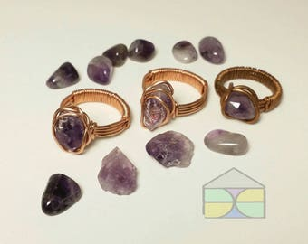 Amplified Amethyst ring copper ring wire wrap ring amethyst copper ring amethyst wire ring raw amethyst ring