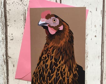 Hen greeting card - blank inside