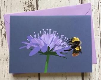 Bumblebee greeting card - blank inside