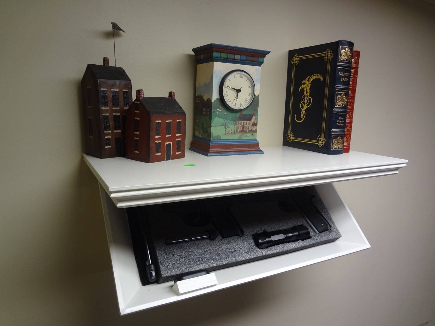 23 Concealment Shelf With Magnetic Lock Oak Wood Painted