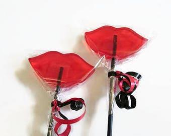 Hen Do Favours, Hen Night Favours, Lip Lollipops, Red Lip Lollipops, Lip Lollies, Party Favours, Red and Black Favours
