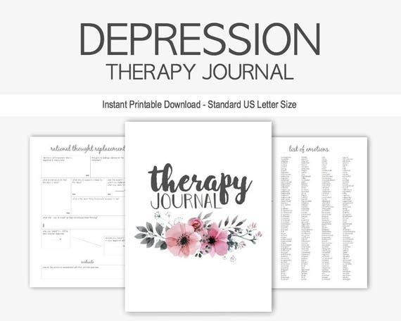 depression  u0026 anxiety therapy journal  instant printable