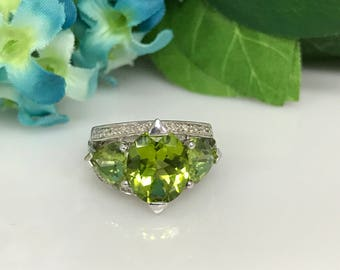 Peridot and Diamond Fashion Ring 14K White Gold #1664