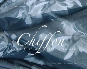 Printed Chiffon Grey Chiffon by the yard