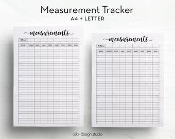 Measurement Tracker, Printable Planner, A4 Printable, Fitness Planner, Health Tracker, Weight loss chart, Fitness Journal, Body Measurement