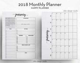 2018 Monthly Planner, Happy Planner, Month at a Glance, 2018 Calendar, Monthly Calendar, Printable Planner, Printable Inserts, MAMBI Insert