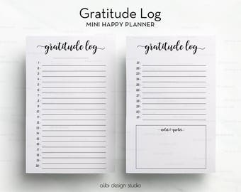Gratitude Planner, MINI Happy Planner, Gratitude Journal, Gratitude Log, Daily Gratitude, Daily Organizer, MAMBI Inserts, Happy Planner
