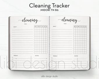 B6 TN, Cleaning Schedule, Travelers Notebook, Cleaning Tracker, Midori, Traveler's Notebook B6, TN Inserts, Cleaning TN, To Do List