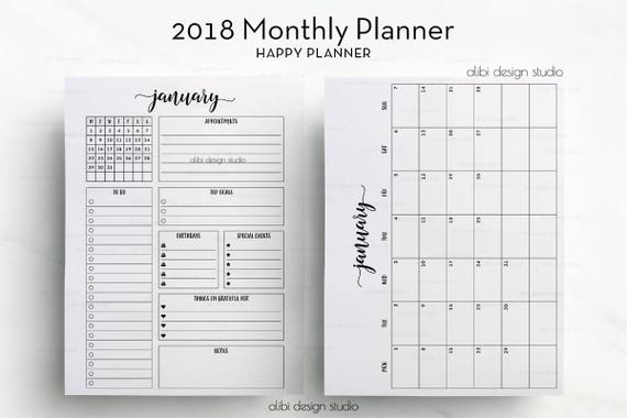 month at a glance blank calendar template - 2018 monthly planner happy planner month at a glance 2018
