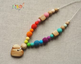 Teething silicone and juniper necklace for babies rainbow color toy