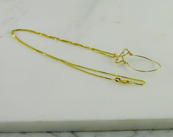 """14K  Gold Charm Holder on a 14K Box Link Gold Chain (19"""")"""