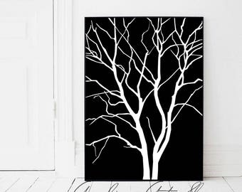Black Tree Print, Black Tree, Black Poster, Affiche Arbre, Black and White, Tree Print, Scandinavian, Black Nordic Decor, Noir Et Blanc