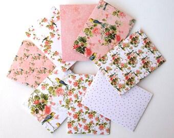 8 small envelopes, floral envelopes, shabby shic envelopes,mini envelopes, mini stationary,mother's day cards, gift envelopes