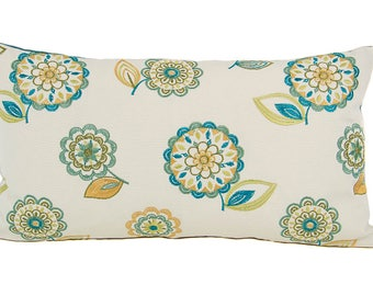 Embroidered Blue and Green Pillow