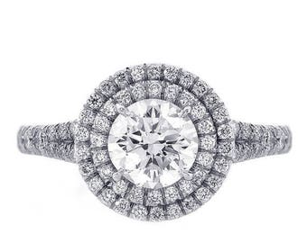 ON SALE 1.50ct Round Cut Diamond Engagement Ring Double Halo Split Shank Platinum
