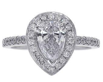 1.65 Carat Pear Cut Diamond Engagement Ring 14K White Gold