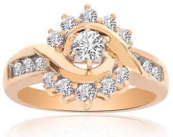 0.75 Carat Round Cut Diamond Engagement Ring 14K Yellow Gold