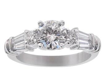 1.55 Carat Round/Baguette Cut Diamond Engagement Ring Platinum