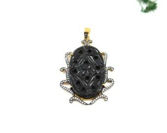 Black Carved Onyx Pendant Necklace--Carved Onyx Pendant--Black Onyx Pendant