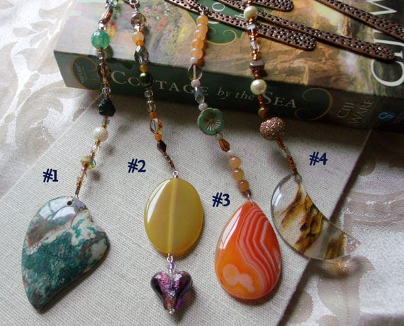 Green agate bookmark - gemstone - reading accessory - copper shepherd hook bookmark -  book club gift - orange  tear drop - heart - moon