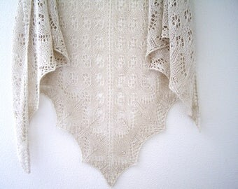 Knit Shawl, Summer Shawl, Lightweight Wrap, linen scarf, hand knit shawl, knitted shawl, Linen Shawl, Beige Shawl, lace Shawl, gift for her