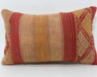 12x20 Handwoven Lumbar Kilim Pillow Sofa Pillow 12x20 Naturel Kilim  Pillow Decorative Kilim Pillow Ethnic Pillow SP3050-1355