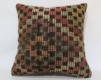 Handwoven Kilim Pillow Sofa Pillow 24x24 Large Kilim Pillow Embroidered Kilim Pillow Home Decor Cushion Cover  SP6060-1385