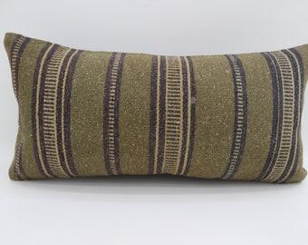 12x24 Green Kilim Pillow Throw Pillow 12x24 Lumbar Pillow Black Striped Kilim Pillow Ethnic Pillow Bohemian Pillow Cushion Cover SP3060-1731