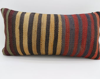 12x24 Multicolor Kilim Pillow Striped  Kilim Pillow 12x24 Lumbar Pillow red  and Yellow  Kilim Pillow Throw Pillow Cushion Cover SP3060-1763
