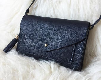 Handmade grained leather shoulder bag - LINA Black - Can be personalised