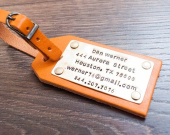 Personalized Leather Luggage Tag Anniversary Gift Travel Gifts Wedding Gifts Mr and Mrs Gift For Couple Brown Tag Copper & Brass metal