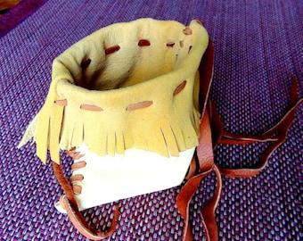 Leather bag, leather pouches, deer leather bag, tribal bag, possibles bag, leather amulet bag, medicine bag, pendant leather bag, deer