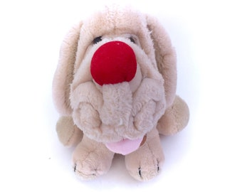 Vintage WRINKLES Beige White Dog With Tag Collar Stuffed Animal Plush Soft Toy 1981 Heritage Collection Plushie  80s 1980s NWT Red Nose