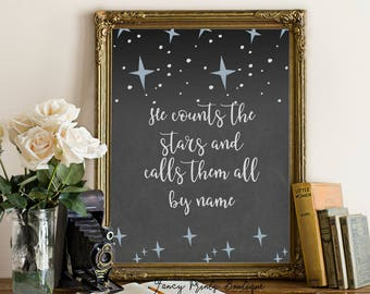 He counts the stars and calls them all by name Psalm 147:4.Bible verse, Bible Verse Printable Wall art, scripture print, inspirational print