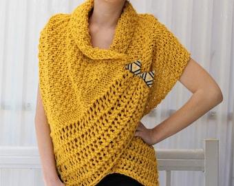 Knitting Pattern Poncho Bulky Yarn : Bulky knit poncho Etsy