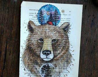 Original painting brown bear, animal art, Animal spirit, book page, gift idea