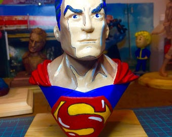 Hand Sculpted One of A Kind Bust of SuperMan