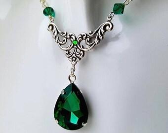 Gothic Emerald Annie Crystal Drop Necklace