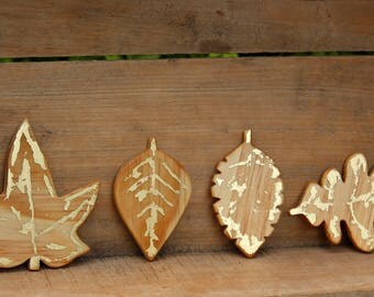 Gold Leaves, Wood Leaves, Oak Leaf, Maple Leaf, Leaf magnets, Rustic magnets, Wood kitchen decor, Autumn Leaf, Fridge Magnets, Kitchen decor