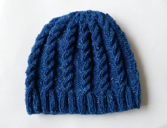 Cable knit beanie: handknit blue Aran hat. Irish wool. Aran Tweed. Made in Ireland. Men's knit beanie. Classic Aran hat. Women's Aran beanie