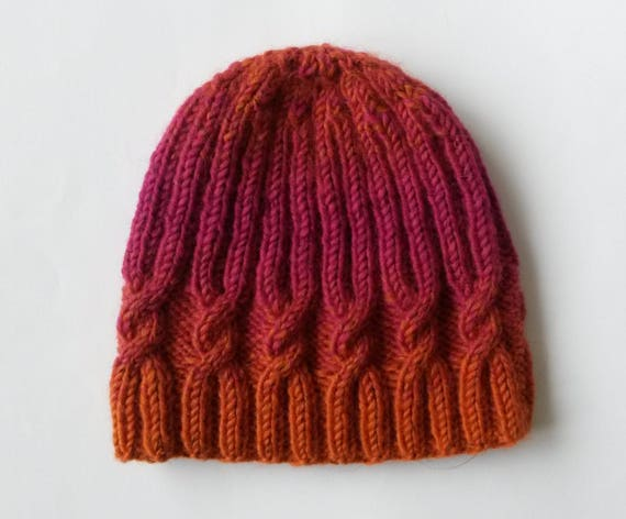 Knit cable beanie: pink and orange hat. Handknit hat. Original design. Made in Ireland. Women's beanie. Xmas gift for her. Bright winter hat