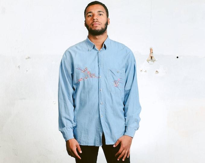 Denim Chambray Shirt . Vintage Mens Jean Shirt Embroidered Native American Denim Top  Shirt Oversized 90s Shirt . size Large