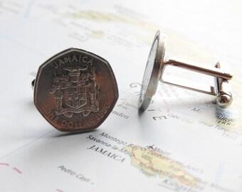 Jamaica coin cufflinks - 6 different designs - made of original coins - island - national hero - rose